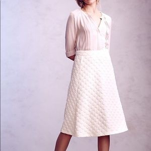 Anthropologie Jacquard HD ivory dotted skirt.